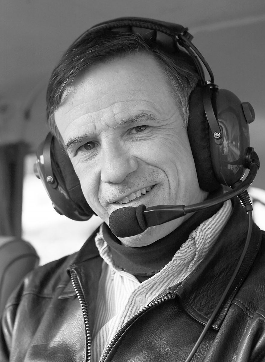 Saint in a Salt Sprping Air Beaver floatplane; portrait by John Cameron